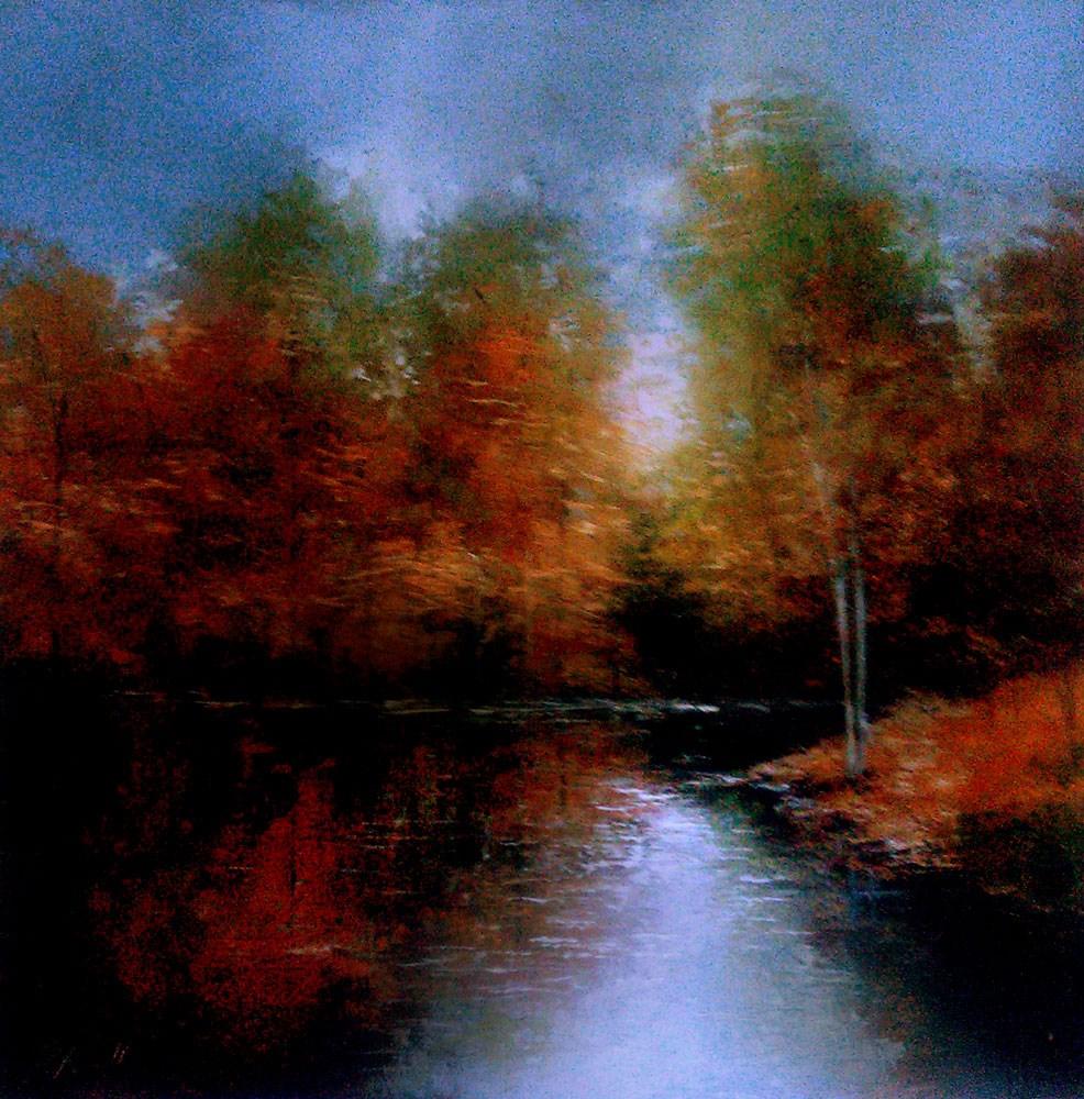 """Autumn Trees at the Lake"" original fine art by Bob Kimball"