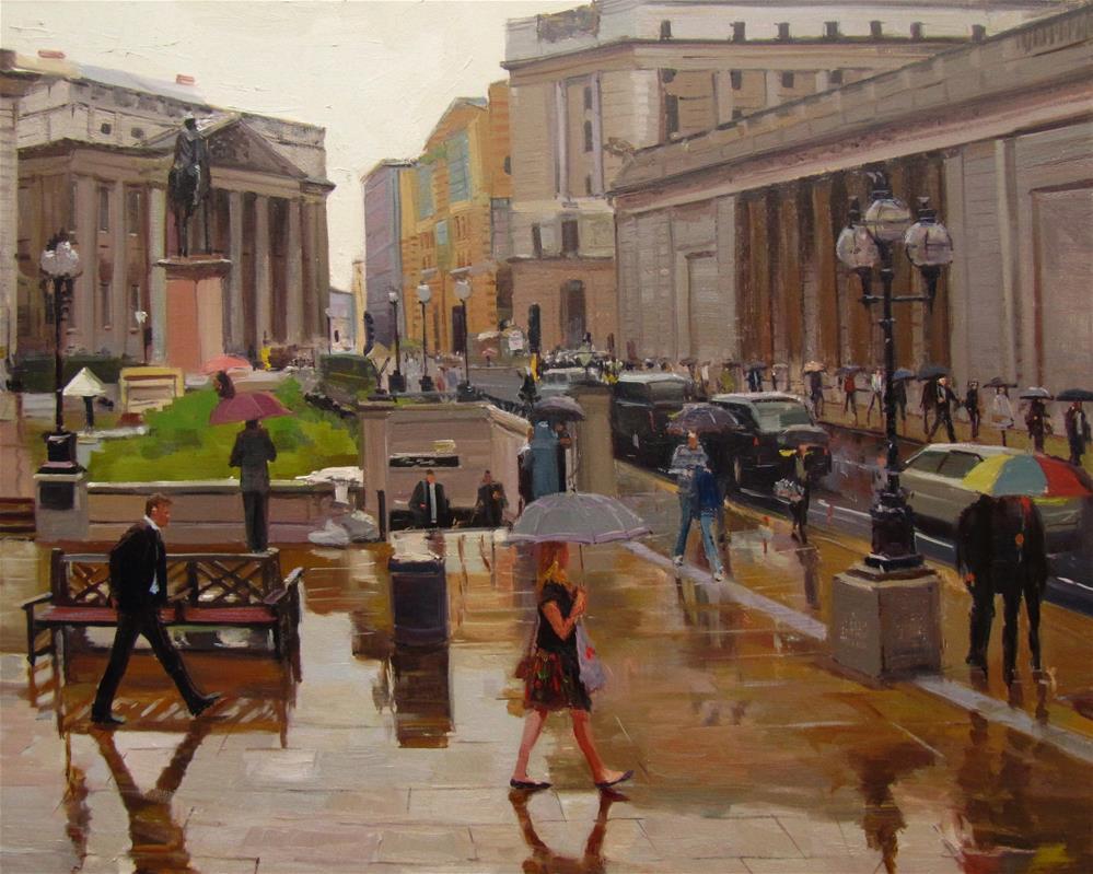 """Grey Rainy Day, London Streets"" original fine art by Adebanji Alade"