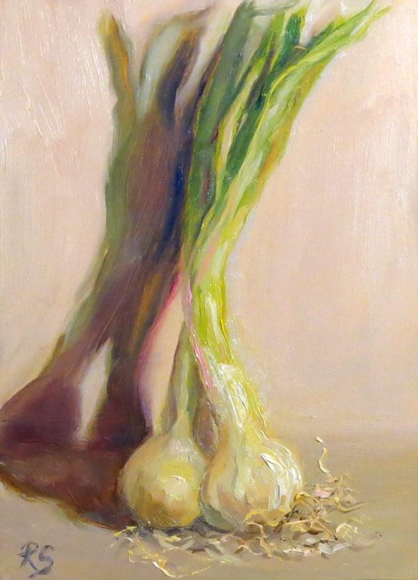 """Spring Onions - 1"" original fine art by Regula Scheifele"