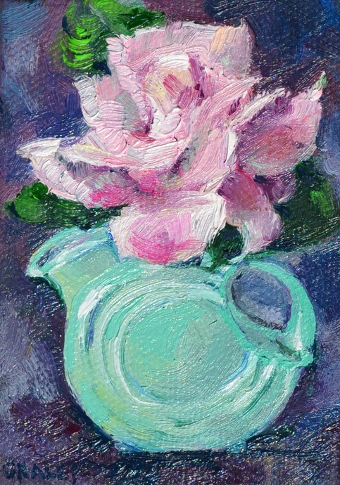 """Rose in Tiny Pitcher"" original fine art by Geri Graley"