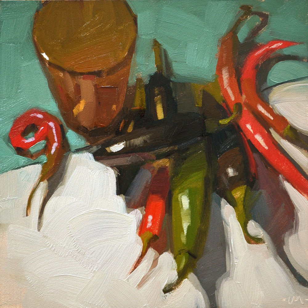 """Shadow Peppers"" original fine art by Carol Marine"