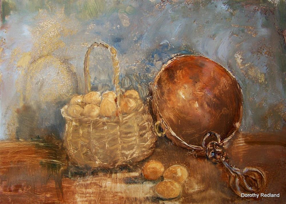 """Brown eggs ad copper"" original fine art by Dorothy Redland"