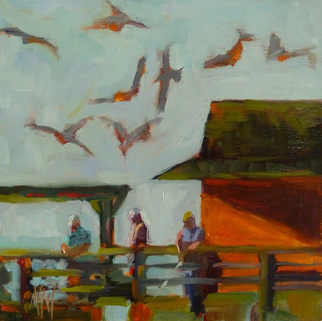 """Fishing on  Naples Pier 6x6 oil on panel. One of a series of paintings of Naples Pier."" original fine art by Mary Sheehan Winn"