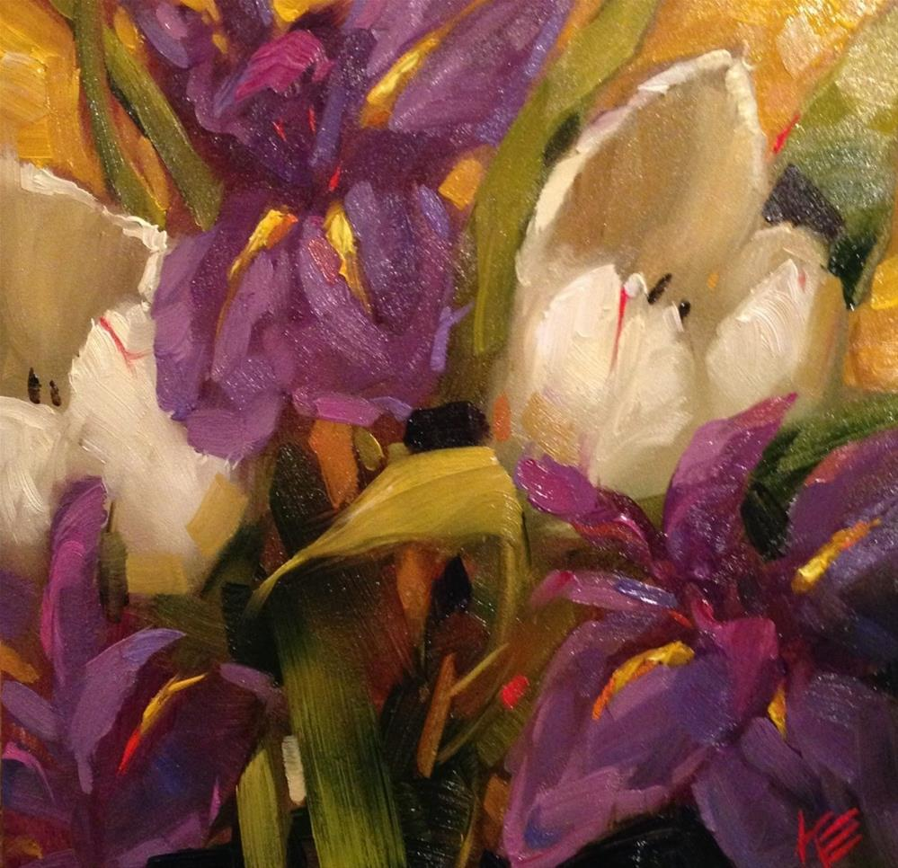 """Irises & Tulips"" original fine art by Krista Eaton"