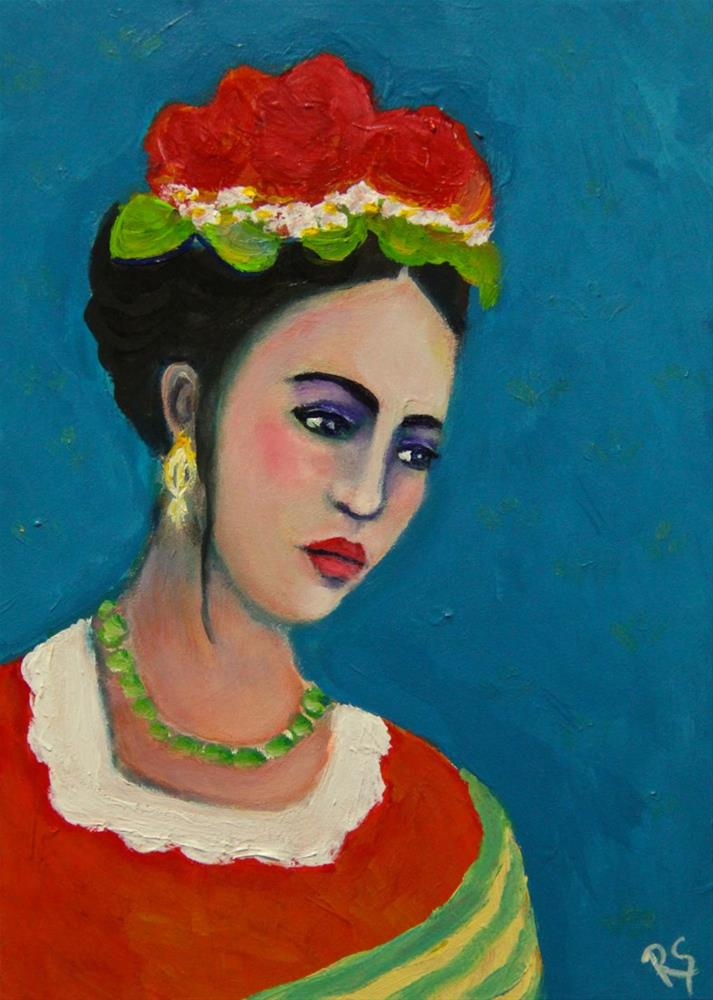 """Melancholy - A Frida Kahlo Inspired Painting"" original fine art by Roberta Schmidt"