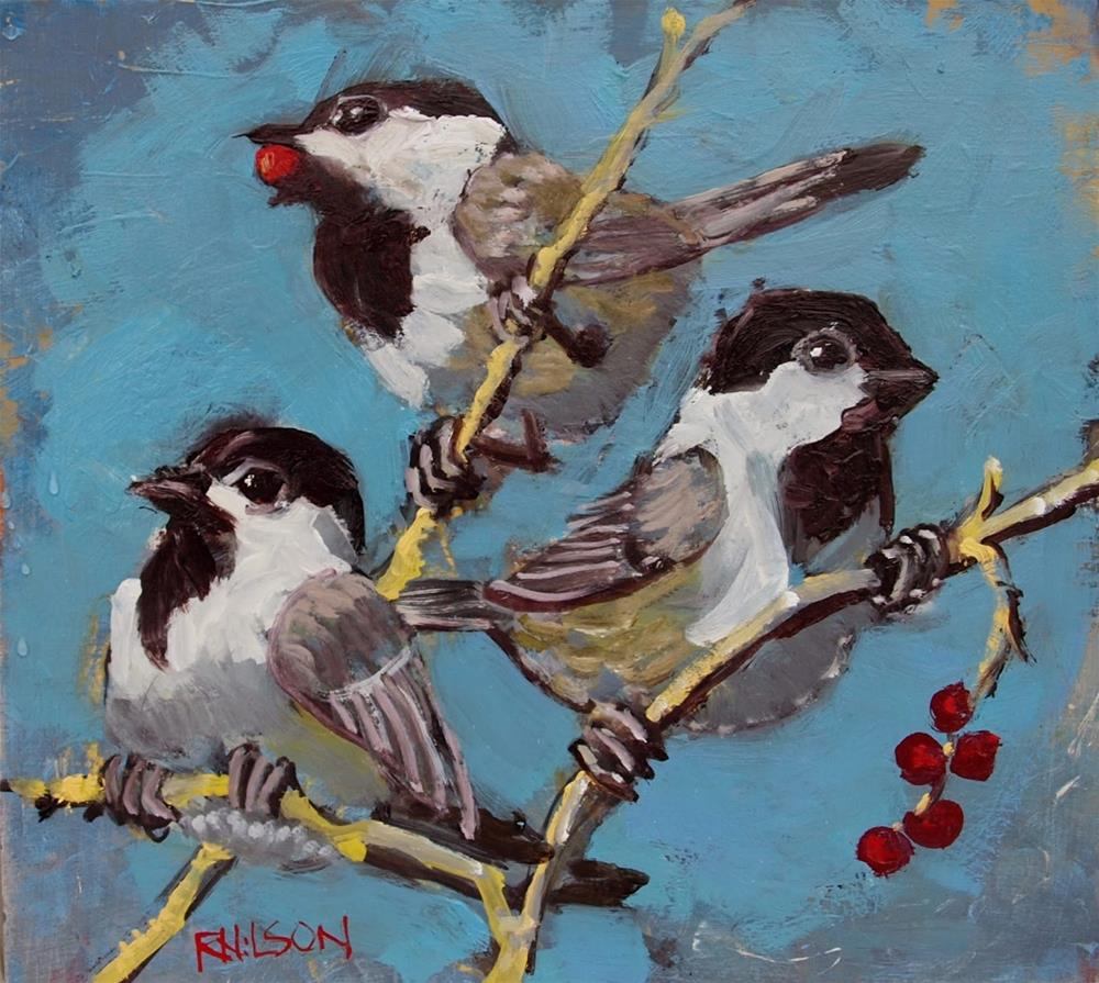 """Chickadees and Berries"" original fine art by Rick Nilson"