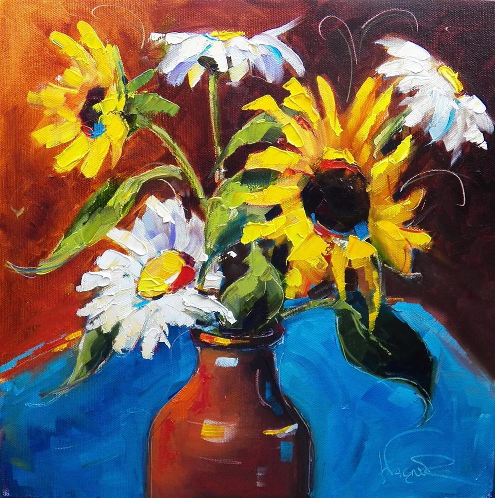 """SUNFLOWER AND DAISY BOUQUET by OLGA WAGNER"" original fine art by Olga Wagner"
