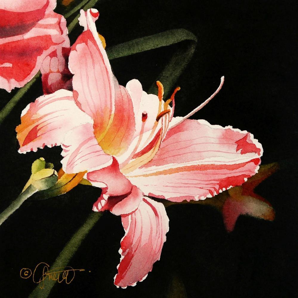 """Pink Daylily"" original fine art by Jacqueline Gnott, TWSA, WHS"