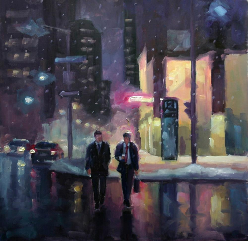 """The Colours of Night, King Street West, Toronto"" original fine art by Catherine Jeffrey"