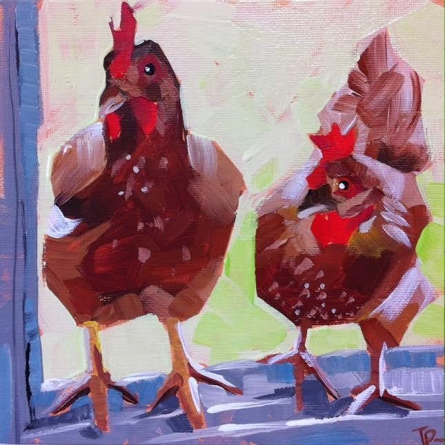 """Two Americaunas"" original fine art by Teddi Parker"