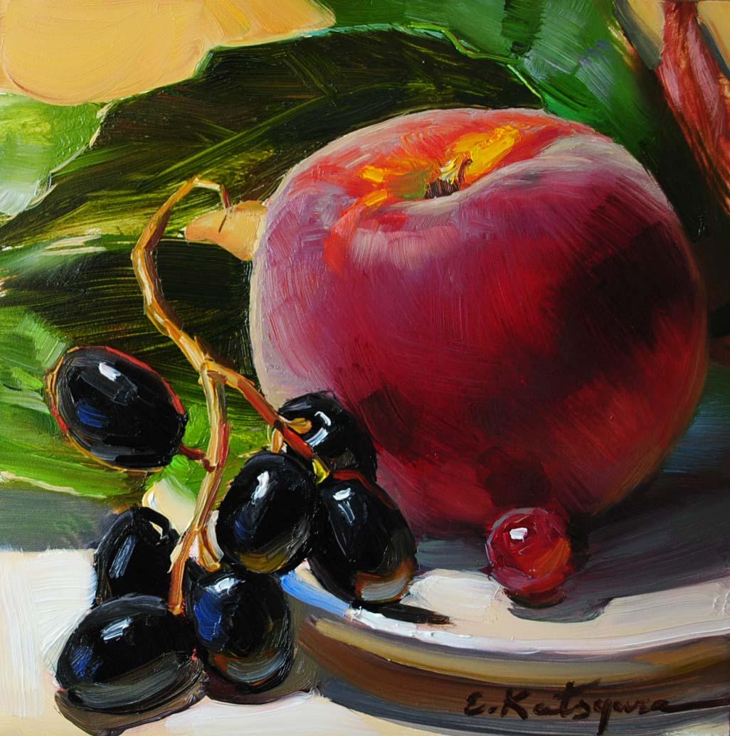 """Peach and Black Grapes"" original fine art by Elena Katsyura"