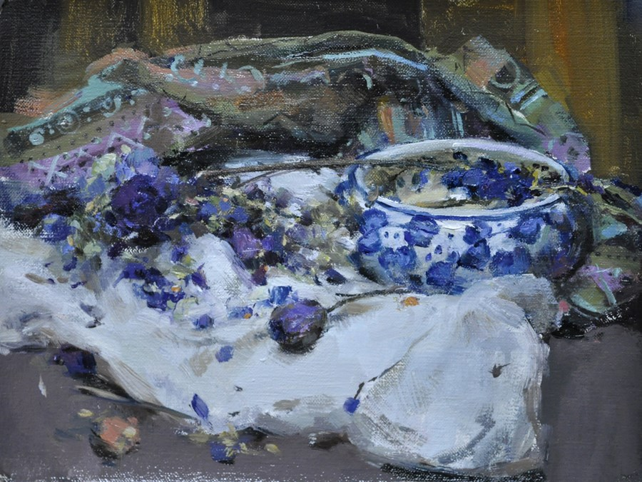 """still life in blue"" original fine art by Taisia Kuklina"