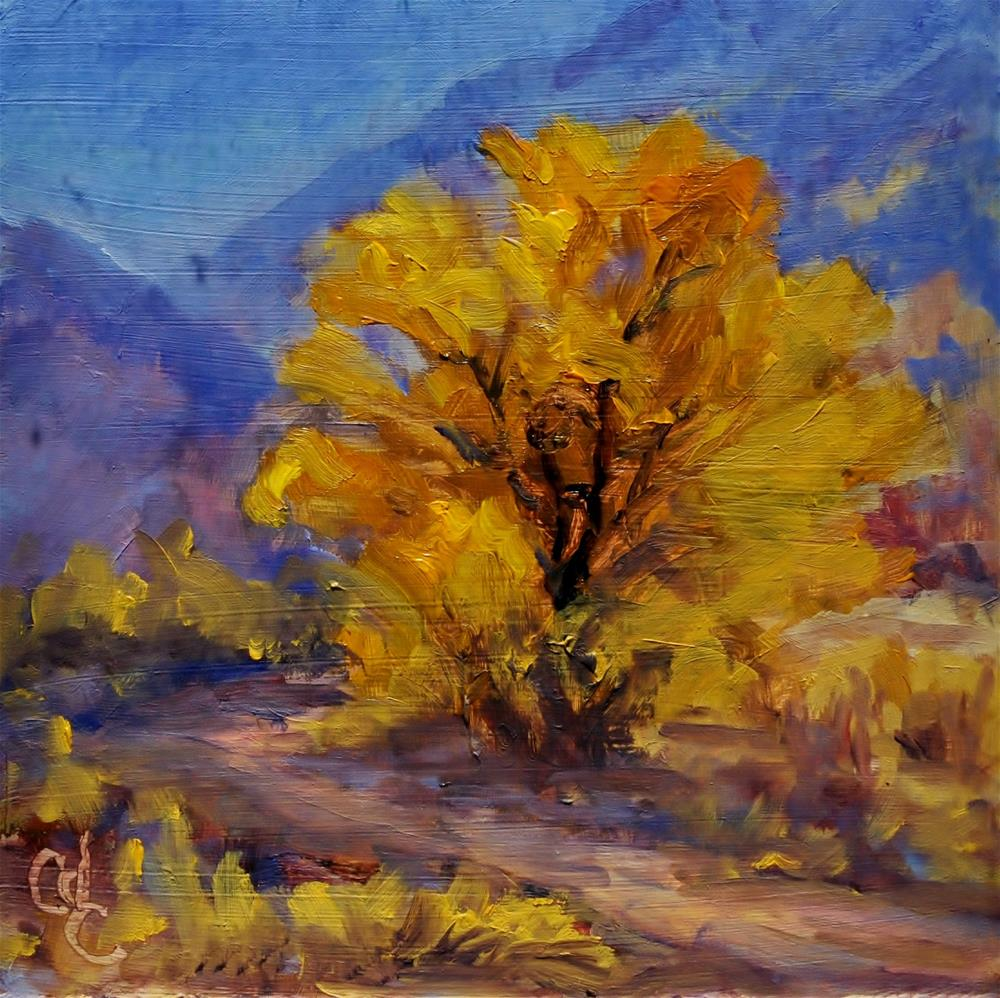 """Golden Tree Against Blue"" original fine art by Catherine Crookston"