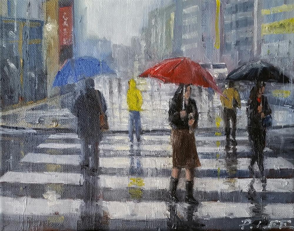 """Crosswalk in rain"" original fine art by Peter Lee"
