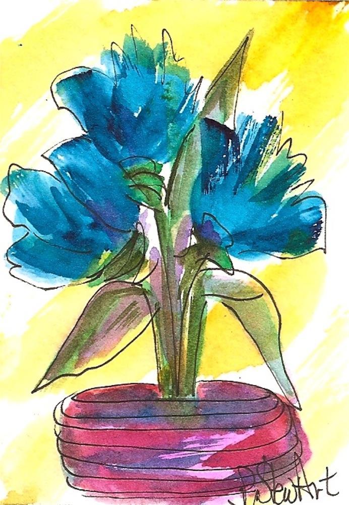 """ACEO, Three Blue Blooms in a Pink Dish Loose Watercolor Original Art OOAK"" original fine art by Penny Lee StewArt"