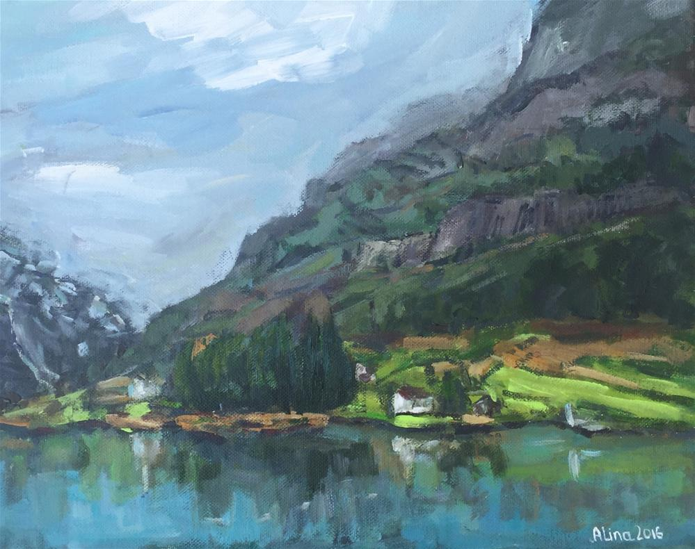 """naroyfjord-fjord-view-cruise-small-11x14"" original fine art by Alina Vidulescu"