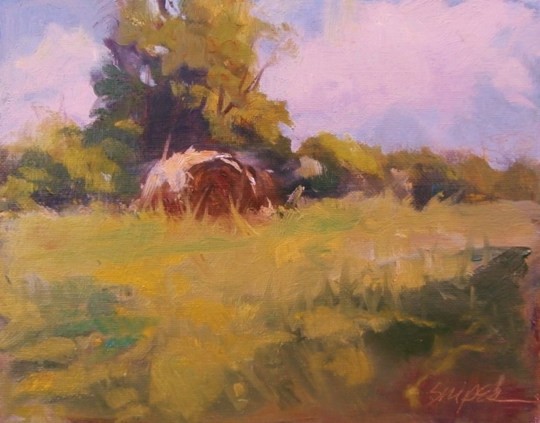 """Summer Haybale"" original fine art by Connie Snipes"