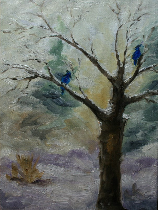 """Jays in Winter Apple Tree"" original fine art by Jean Nelson"