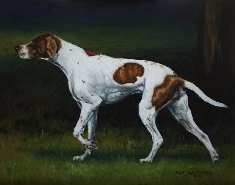 """English Pointer"" original fine art by Sue Deutscher"