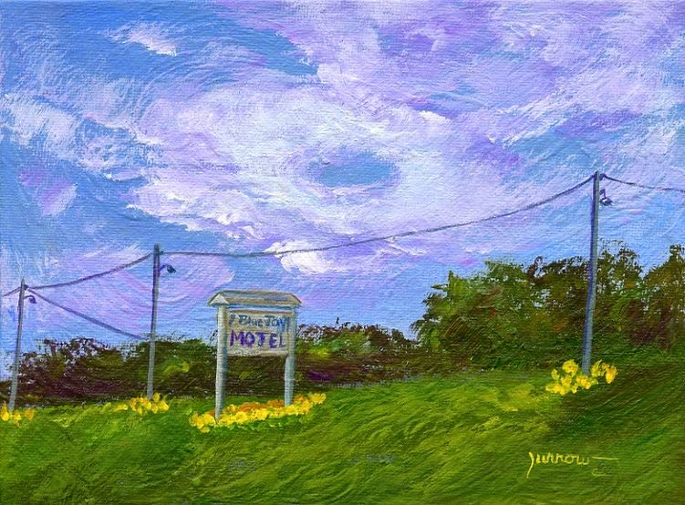 """ORIGINAL PAINTING ALONG RT. 311, the BLUE JAY HOTEL"" original fine art by Sue Furrow"