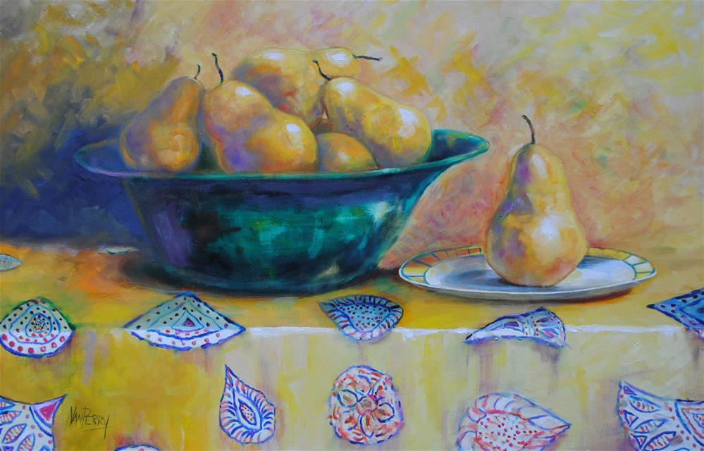 """Pears on Yellow"" original fine art by Nan Perry"