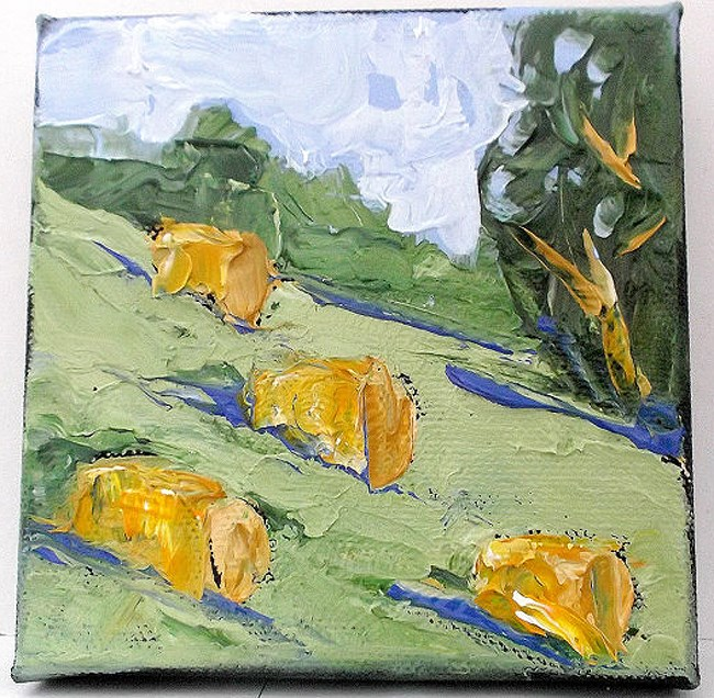 """Miniature Baled Hay"" original fine art by lynne french"