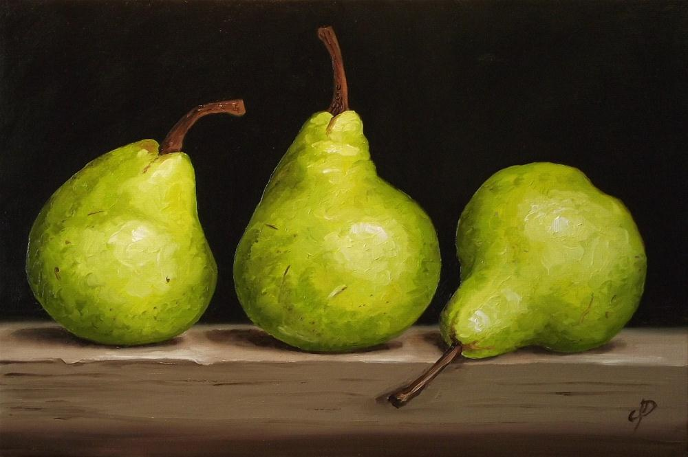"""Pear trio"" original fine art by Jane Palmer"
