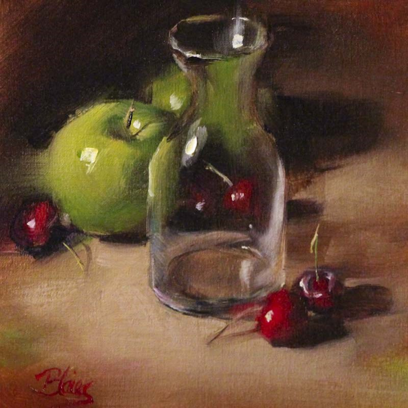 """Fruit and a Mini Decanter"" original fine art by Pamela Blaies"