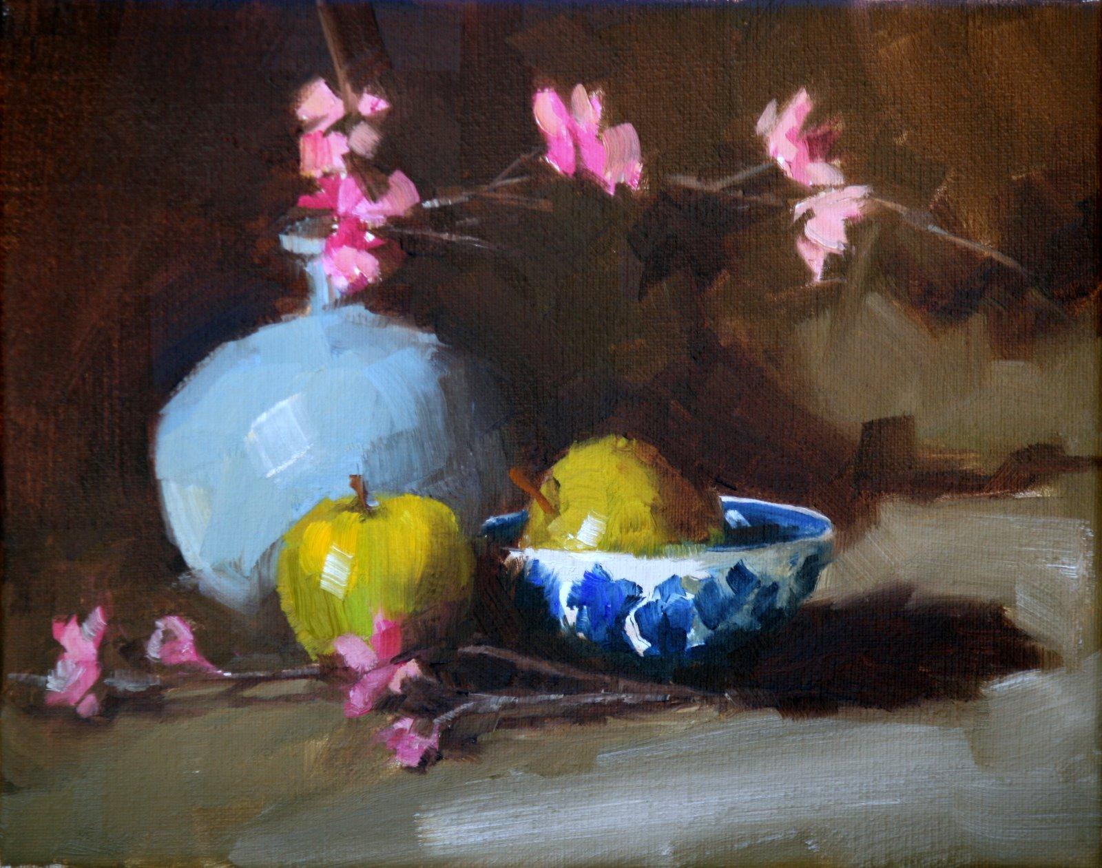 """blue vase and green apples"" original fine art by Carol Carmichael"