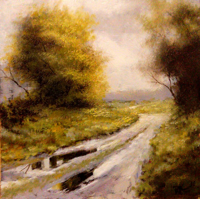 """Puddles on the Road"" original fine art by Bob Kimball"