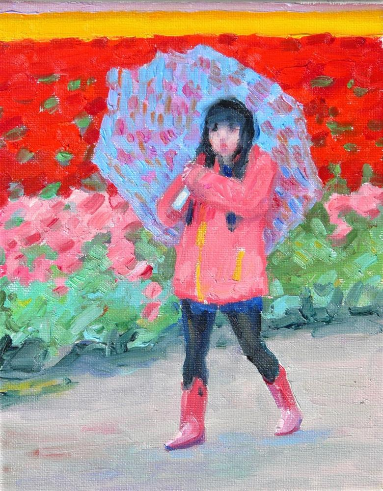 """Tulip Fields in the Rain,figure,oil on canvas,10x8,price$200"" original fine art by Joy Olney"