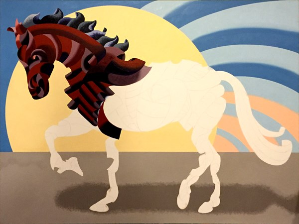 """Mark Webster - More Progress on Abstract Geometric Futurist Horse Oil Painting"" original fine art by Mark Webster"