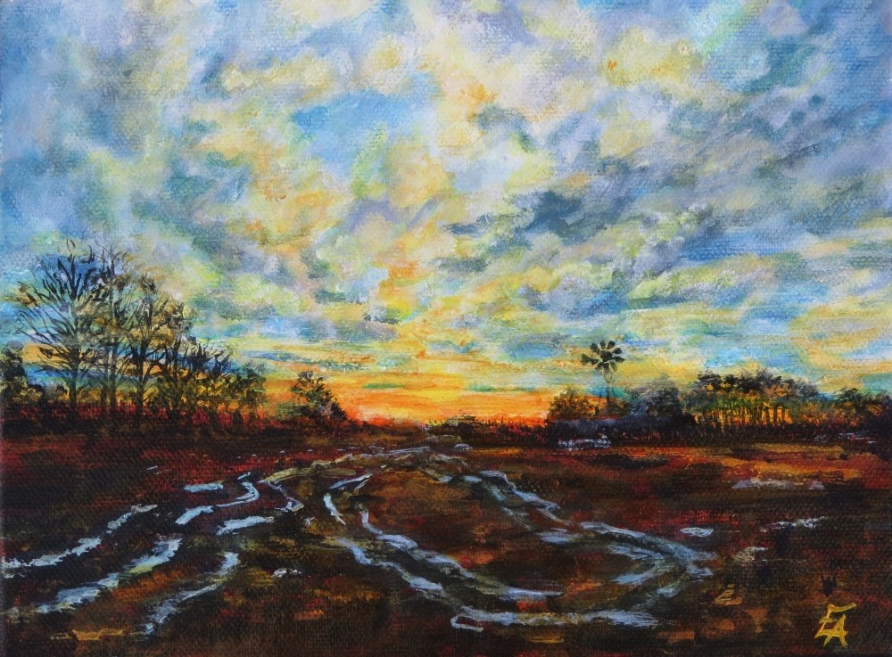 """Windmill Sunset"" original fine art by Elizabeth Elgin"