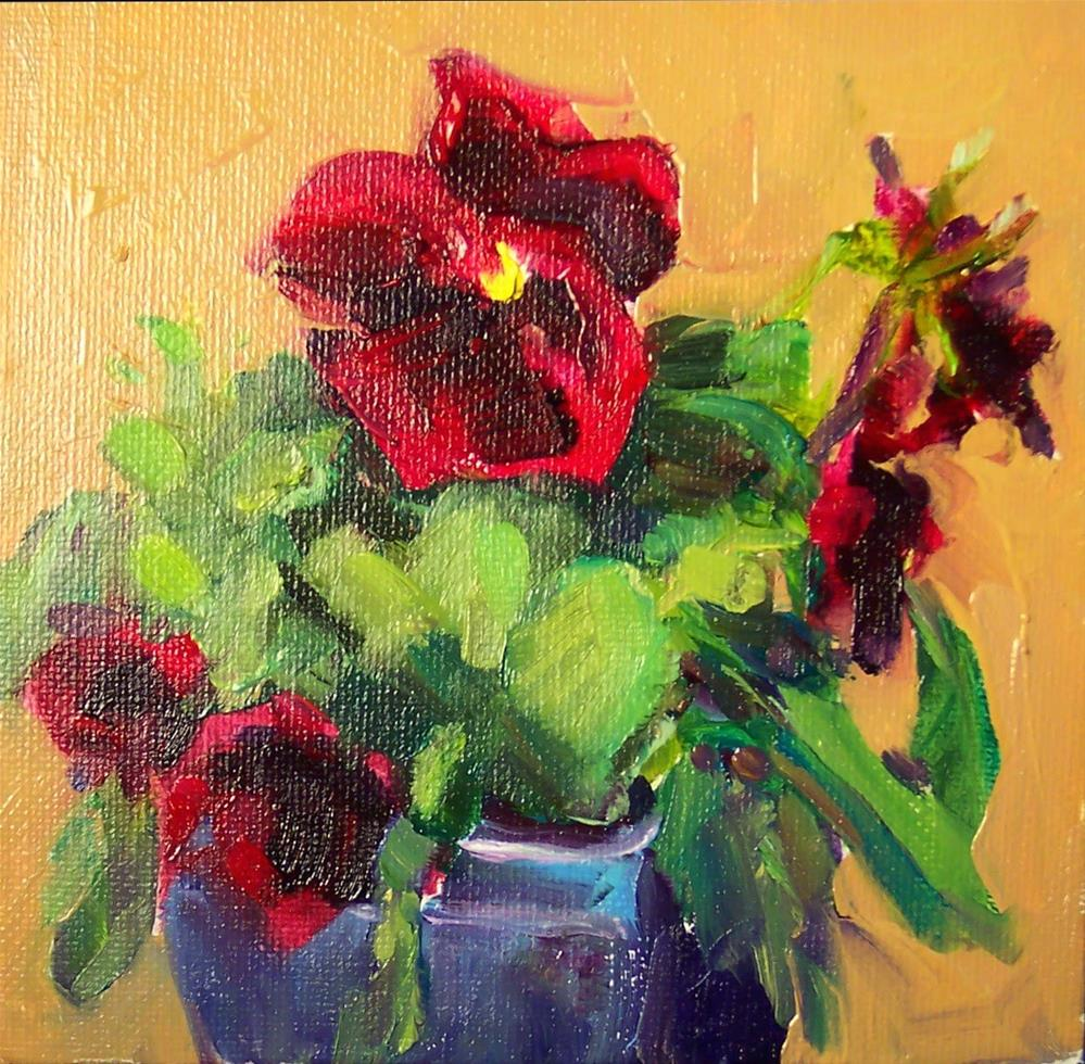 """Dark Red Pansies,still life,oil on canvas,6x6,price$200"" original fine art by Joy Olney"