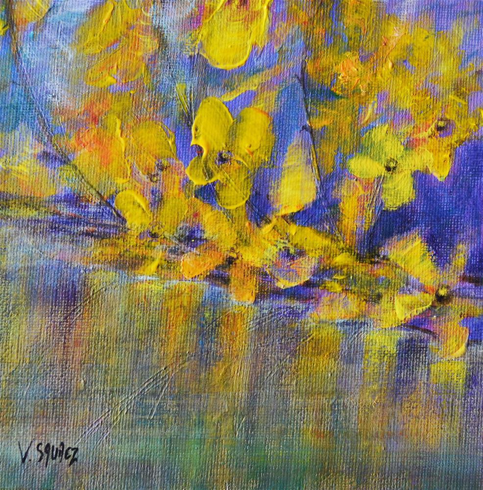 """Forsythias 2"" original fine art by Véronique Saudez"