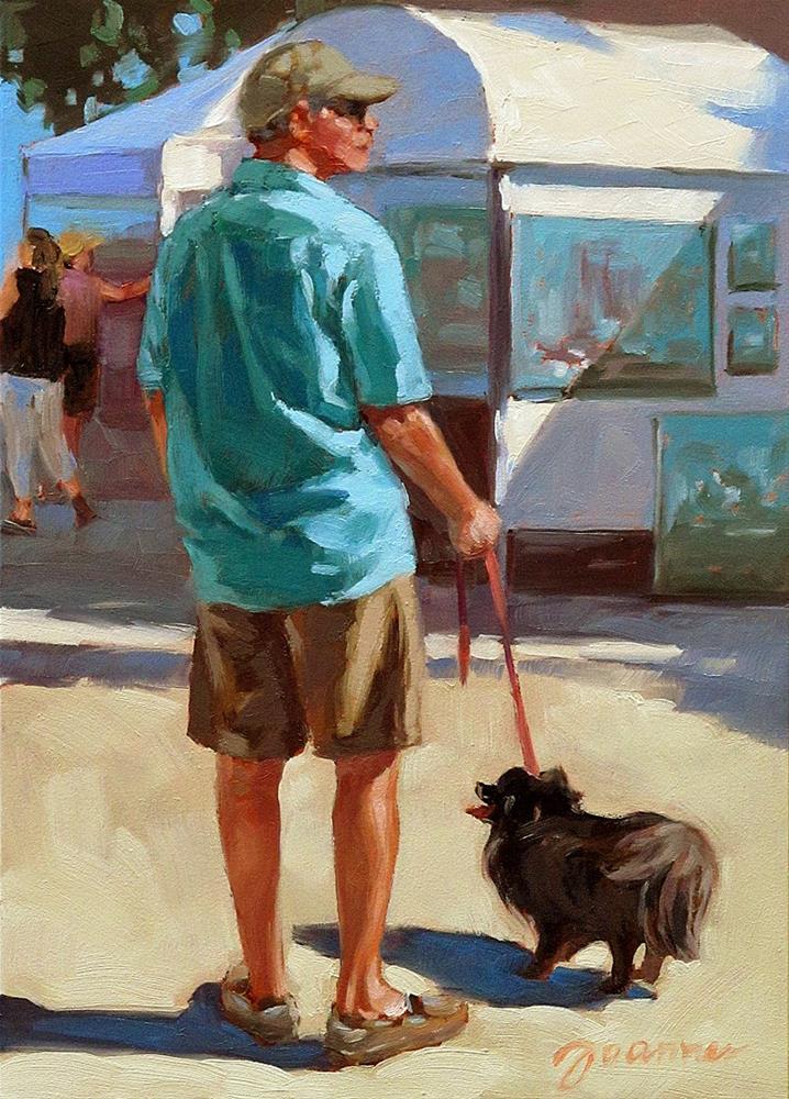 """Art Lovers--Series Painting of Dog & Owners"" original fine art by Joanna Bingham"