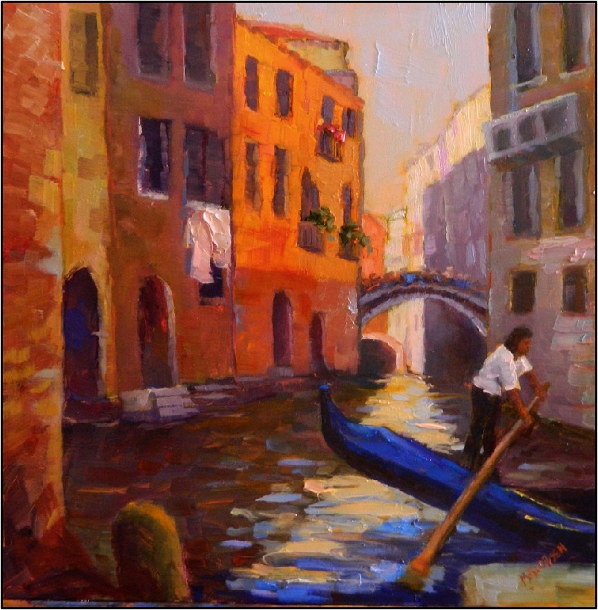 """In Between Customers, 12x12, Venice Italy, Venice canal, gondolier, Italian landscape, alla prima,"" original fine art by Maryanne Jacobsen"
