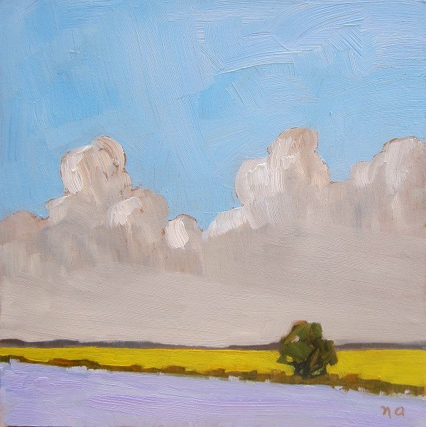 """Clouds Rising Over Flax And Canola"" original fine art by Nicki Ault"