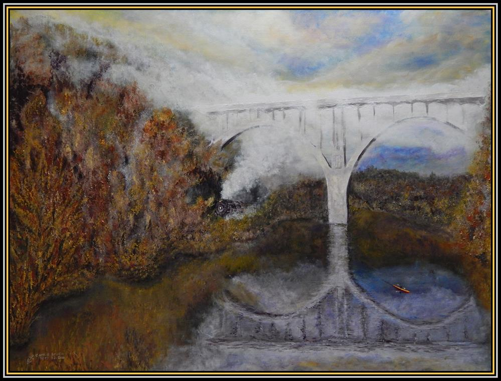 """Engine 765 at Brecksville Bridge, CVNP"" original fine art by Captain B Smith"
