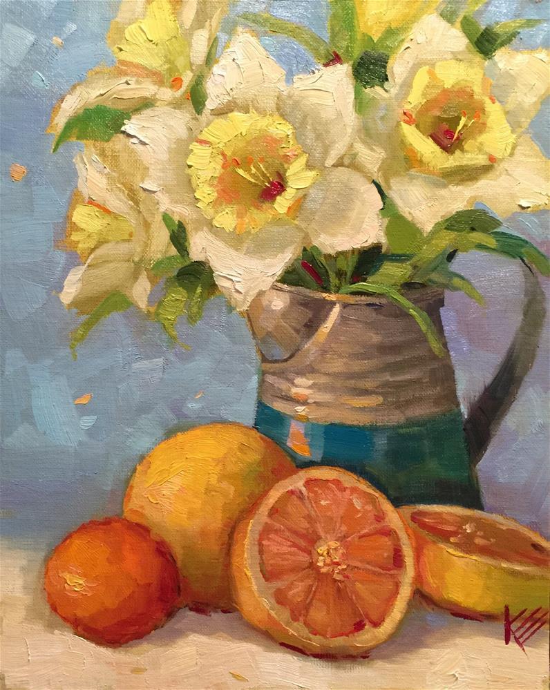 """""""Daffodils & Citrus"""" original fine art by Krista Eaton"""