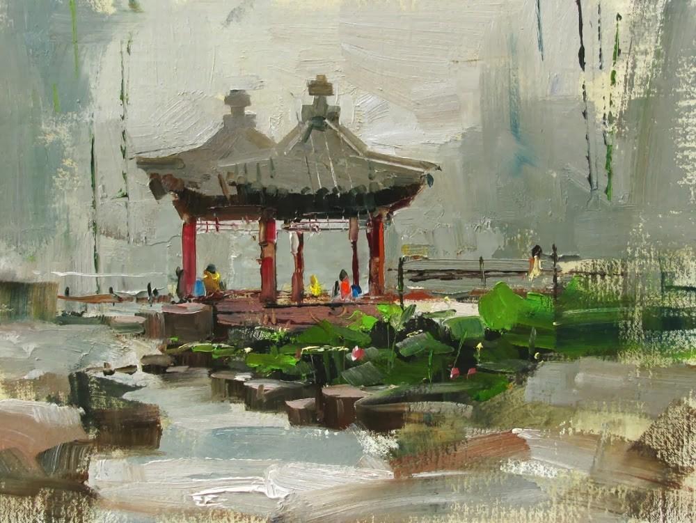 """Beijing Tao_Ran_Ting Park"" original fine art by Qiang Huang"