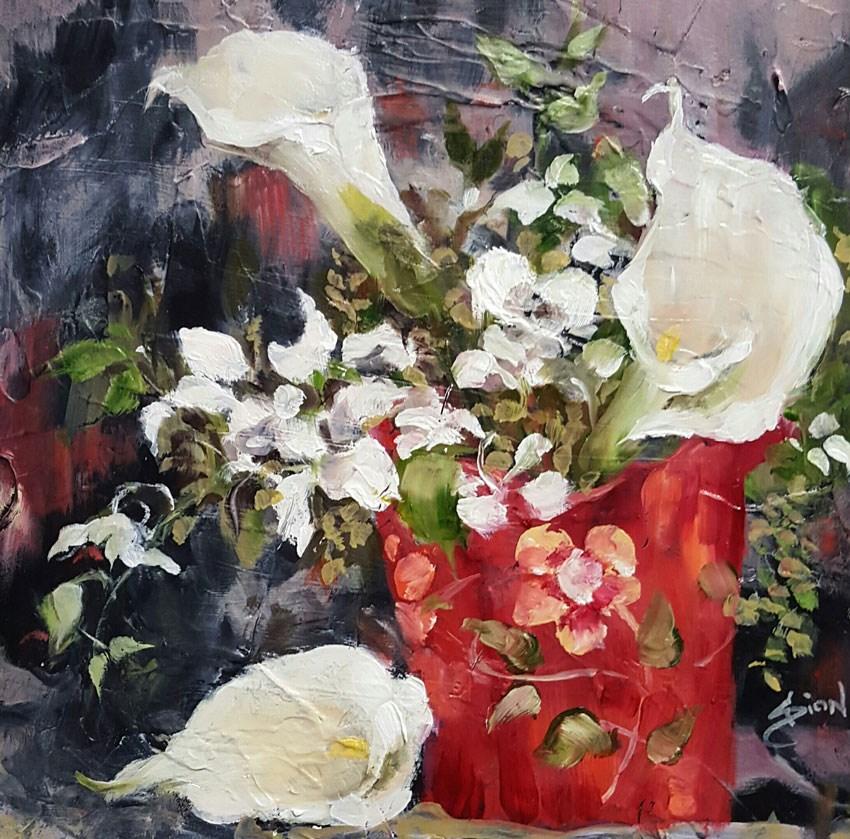 """""""Orchids and Callas in Fenton"""" original fine art by Sue Dion"""