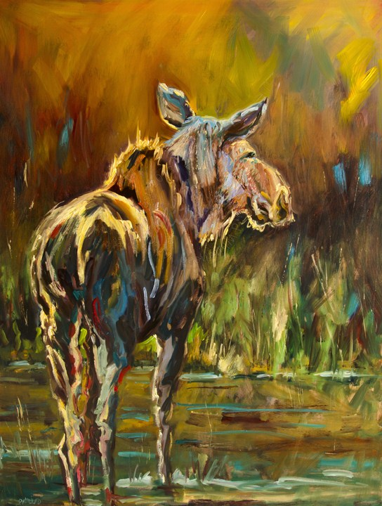 """ARTOUTWEST MOOSE WILDLIFE ART BY Diane Whitehead"" original fine art by Diane Whitehead"