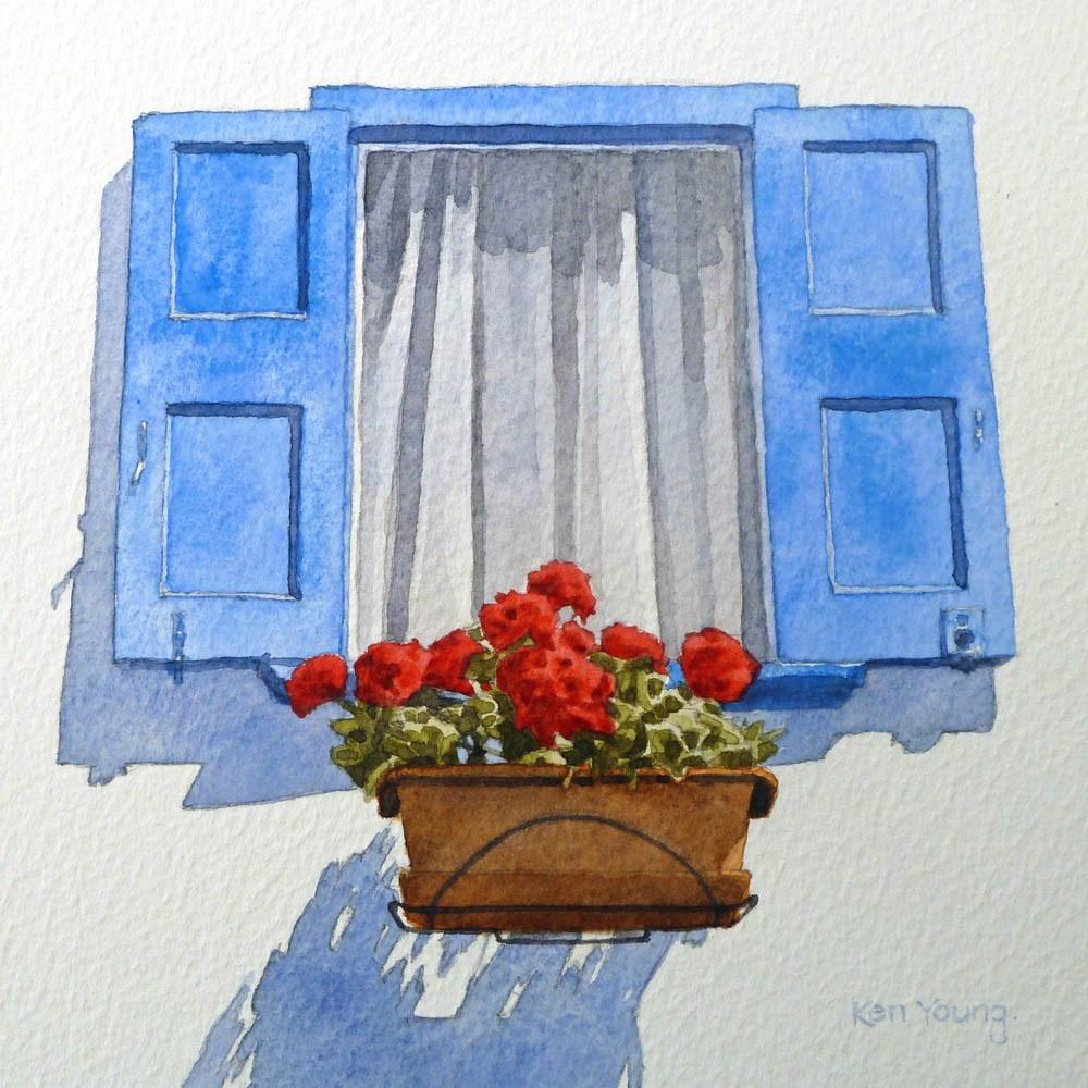 """""""Geraniums"""" original fine art by Ken Young"""