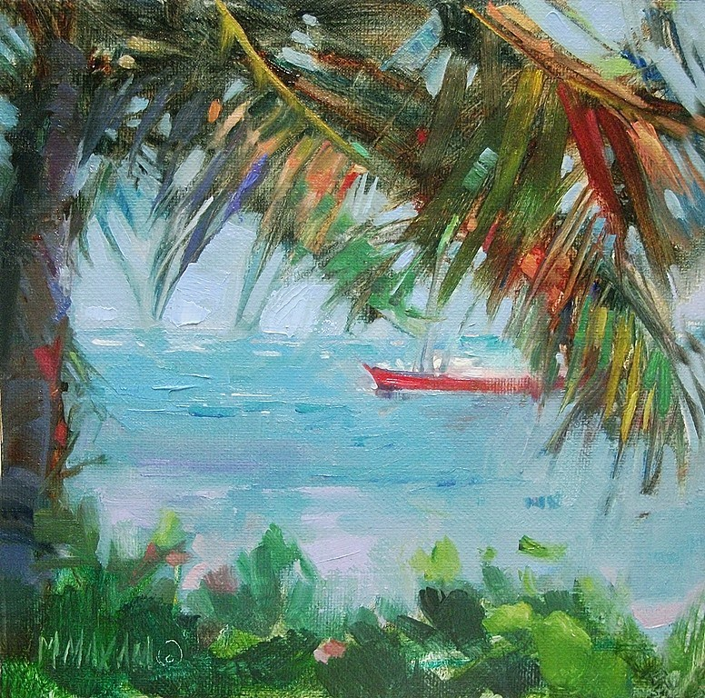 """Through Palm Fronds - Belize ocean view"" original fine art by Mary Maxam"