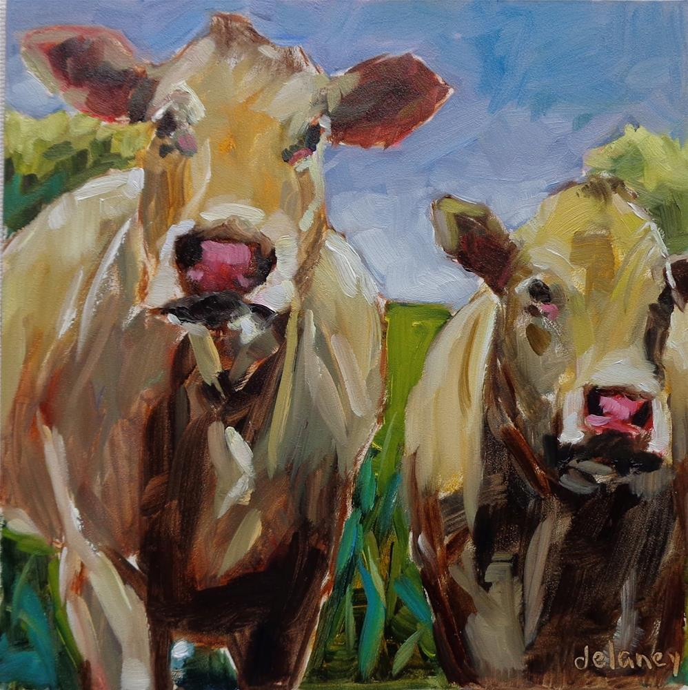 """Cow 111 THELMA AND LOUISE"" original fine art by Jean Delaney"