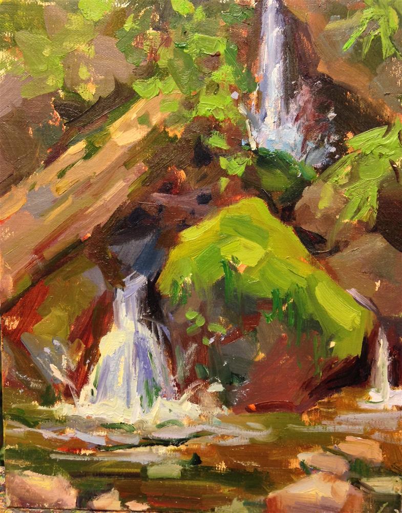 """At the foot of a waterfall"" original fine art by Emiliya Lane"