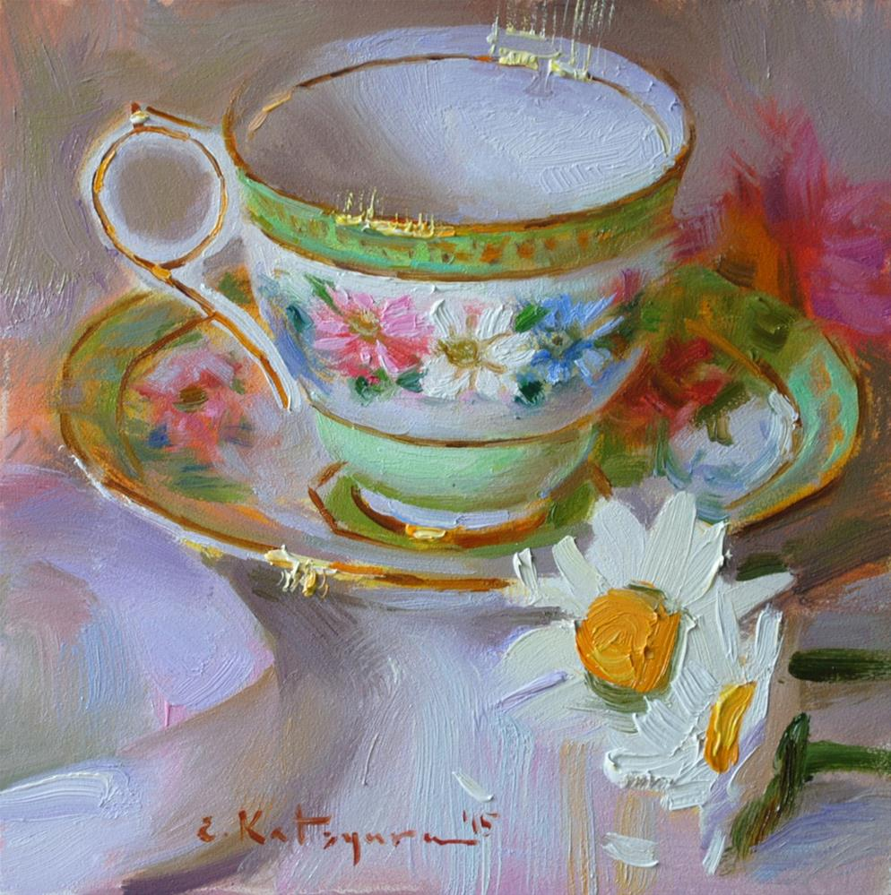 """Daisy Teacup"" original fine art by Elena Katsyura"