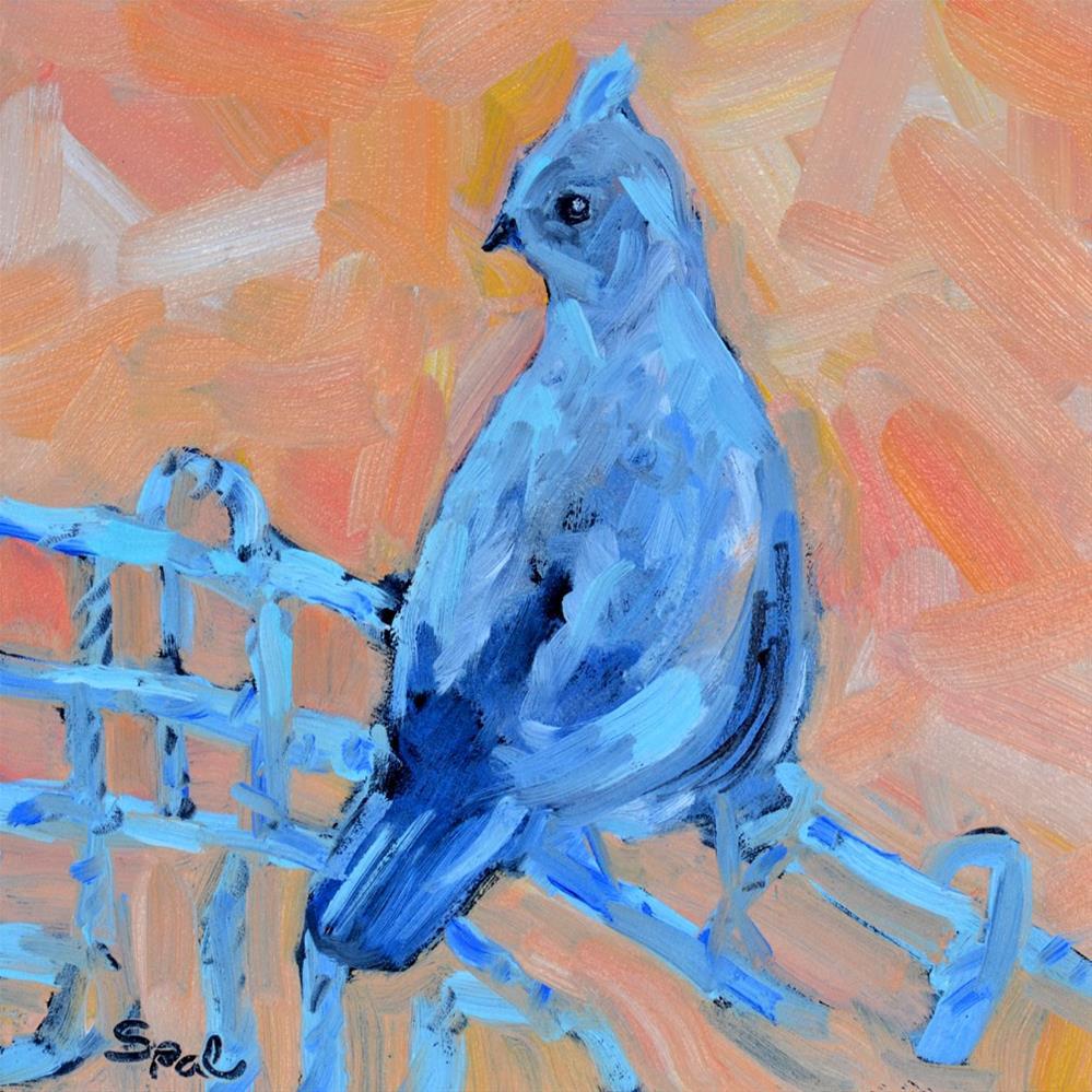 """""""Blue Quail"""" original fine art by Suzy 'Pal' Powell"""