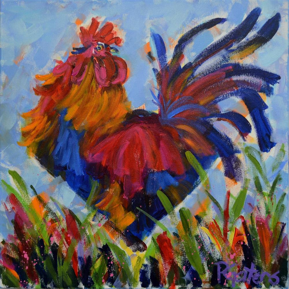 """Racey Rooster"" original fine art by Pamela Gatens"